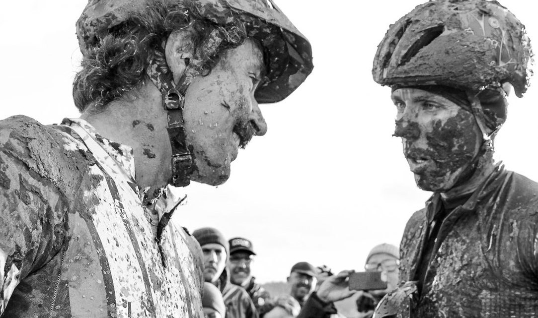 """""""Sven, hope you saved something for Part 2 of our battle tonight."""" """"What?"""" 2016 SSCXWC Men's Finals. © M. Estes / Cyclocross Magazine"""