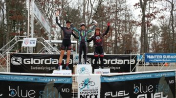 NCGP Day 2 Elite Women's podium: Arley Kemmerer (first), Cassandra Maximenko (second), Hannah Arensman (third). © Laura Rice