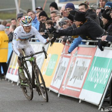 Stephen Hyde excited with his 10th place finish. 2016 Hansgrohe Superprestige Spa-Francorchamps. Elite Men's race. © B. Hazen / Cyclocross Magazine