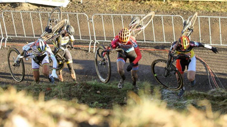 De Jong, Majerus, Cant climb the super steep run-ups of the 2016 Hansgrohe Superprestige Spa-Francorchamps. Elite Women. © B. Hazen / Cyclocross Magazine