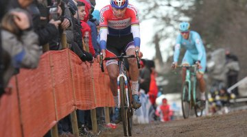Mathieu van der Poel overcame a slow start and shoe mechanical to sit in second, but would suffer another mechanical and fade outside the top ten. 2016 Heusden-Zolder Cyclocross World Cup. Elite Men. © B. Hazen / Cyclocross Magazine