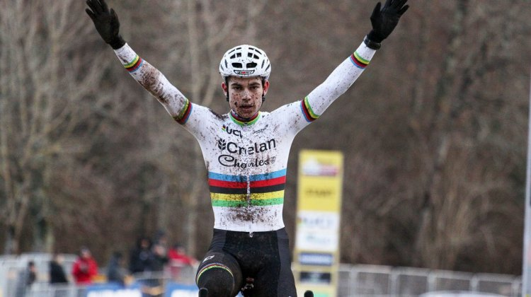 Wout van Aert wins the 2017 Fiuggi UCI Cyclocross World Cup and locks up the World Cup overall. Elite Men. Italy. © C. Jobb / Cyclocross Magazine