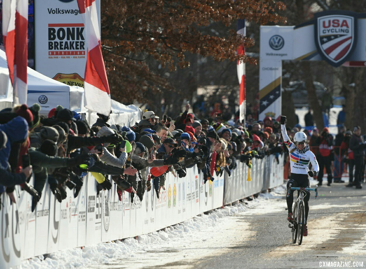 Katie Compton raises her fist in victory. 2017 Cyclocross National Championships. ©  Cyclocross Magazine