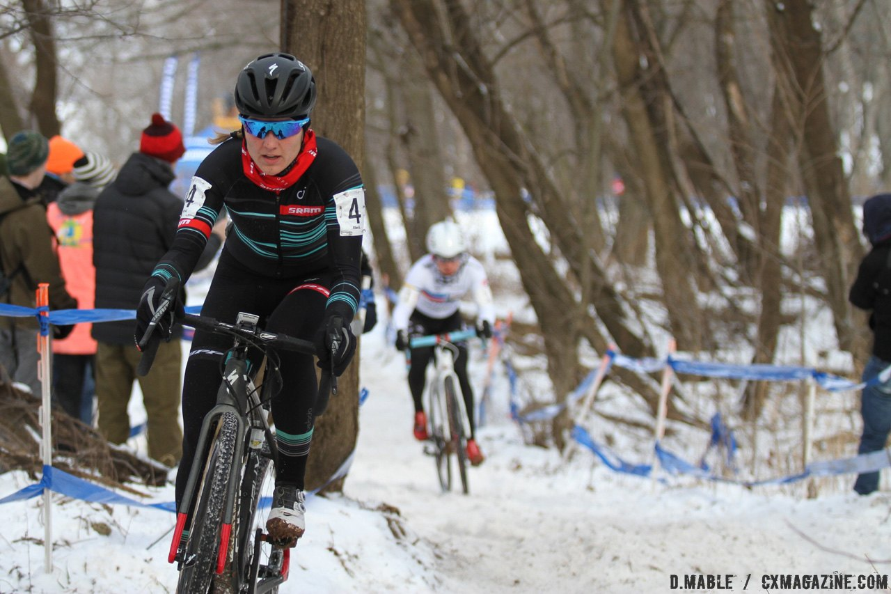 Elle Anderson started strong, carrying the lead halfway through the first lap. 2017 Cyclocross National Championships. © D. Mable / Cyclocross Magazine