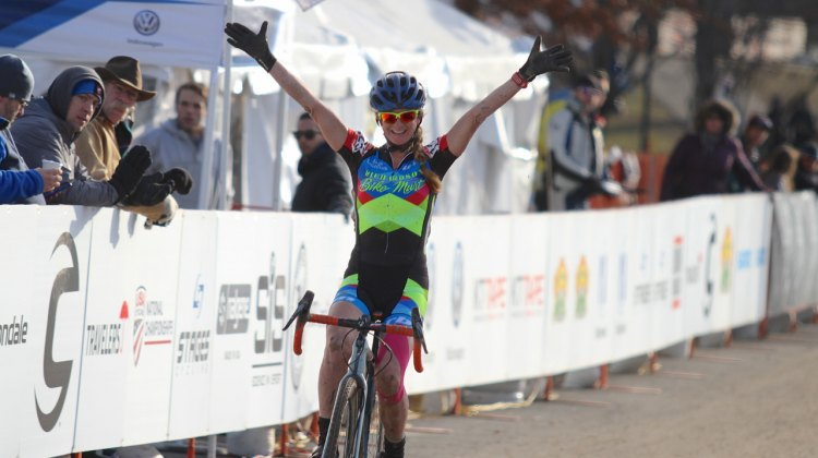 Christina Gokey-Smith wins her first National Cyclocross title after taking the Women's 40-44 race on Thursday in Hartford. 2017 Cyclocross National Championships. ©D. Mable/Cyclocross Magazine