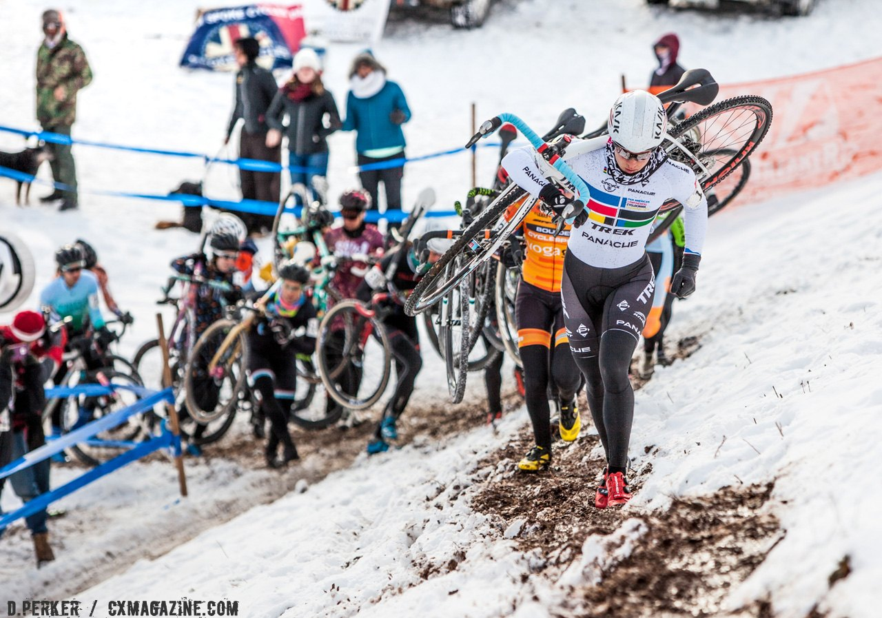 Katie Compton is leading up the Bonkbreaker Hill on the first lap. 2017 Cyclocross National Championships. © D. Perker / Cyclocross Magazine