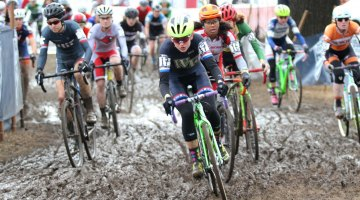 The battle for the holeshot. 2017 Cyclocross National Championships, Collegiate Club Women. © D. Mable / Cyclocross Magazine