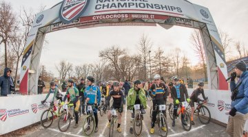 The start of the collegiate varsity relay. 2017 Cyclocross National Championships, Masters Men 65-69. © A. Yee / Cyclocross Magazine