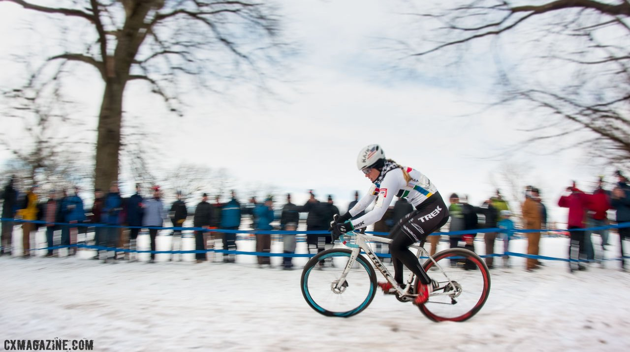 Katie Compton at full speed. 2017 Cyclocross National Championships. ©  Cyclocross Magazine