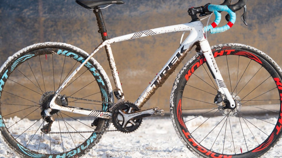 Katie Compton's 13th National Championships-Winning 2017 Trek Boone cyclocross bike with a fresh title and coating of Hartford's Riverside Park's mud and snow. © Cyclocross Magazine