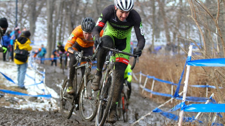 Mathew Timmerman leading on the climb. 2017 Cyclocross National Championships Masters Men 40-44. © D. Mable / Cyclocross Magazine