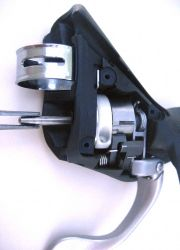 Remove the axle with needle nose pliers