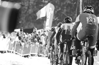 A chase group organizes with their sights set on a top finish at the 2010 Cyclocross World Championships in Tabor, Czech Republic.  ? Joe Sales