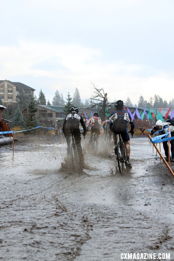 Many portions of the course were completely submerged during the race. © Cyclocross Magazine