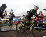 Baker (l) crests the stairs on his way to victory. © Cyclocross Magazine