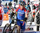 Edward Michael Grosu of Romania showed toughness racing in shorts and arm warmers in the cold conditions. ? Bart Hazen