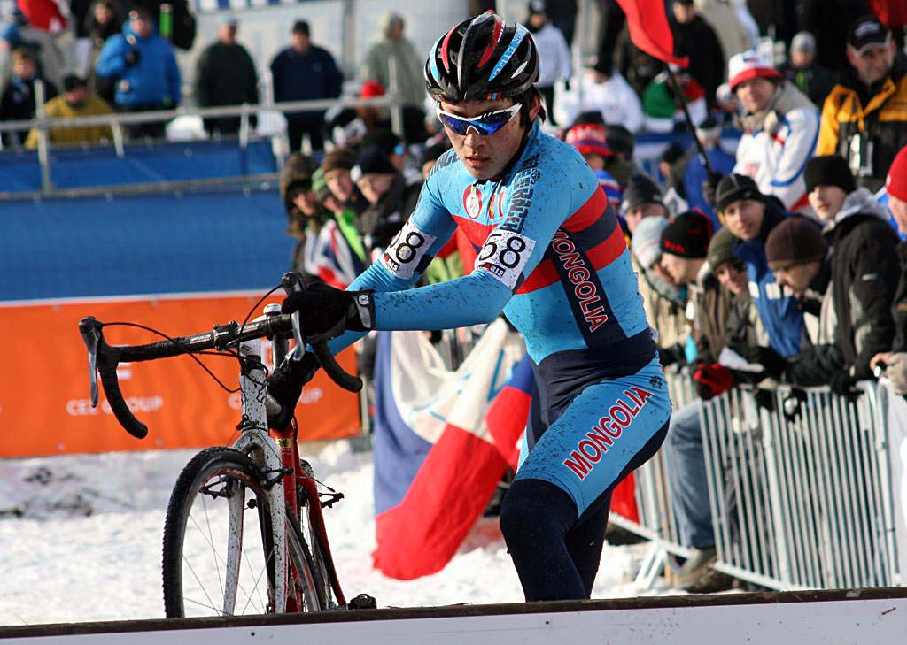 Mongolia\'s Myagmarsuren Baasankhuu had a respectable race, finishing on the lead lap. 2010 U23 Cyclocross World Championships. ? Bart Hazen
