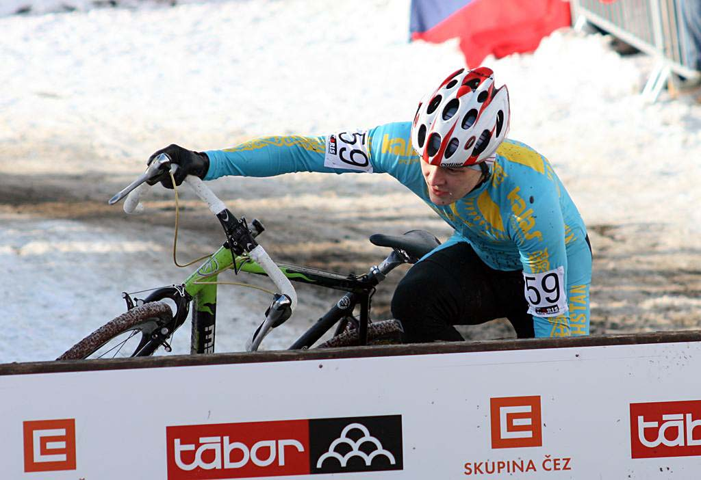 Kazak Andrey Ryzhov had a rough race, getting lapped with three to go. 2010 U23 Cyclocross World Championships. ? Bart Hazen
