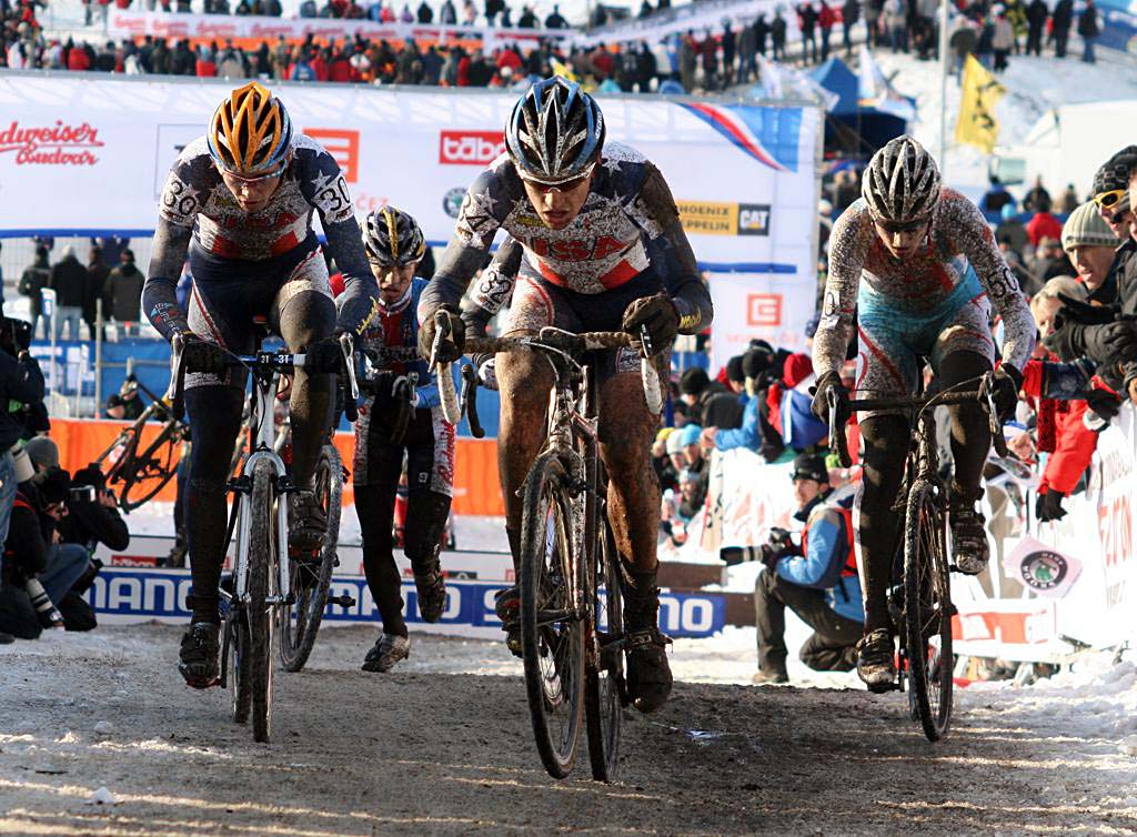 Danny Summerhill and Dave Hackworth lead their chase group. 2010 U23 Cyclocross World Championships. ? Bart Hazen