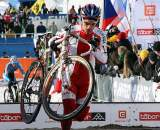 Poland's Pawel Szczepaniak ahead of Jim Aernouts early in the race. 2010 U23 Cyclocross World Championships. ? Bart Hazen