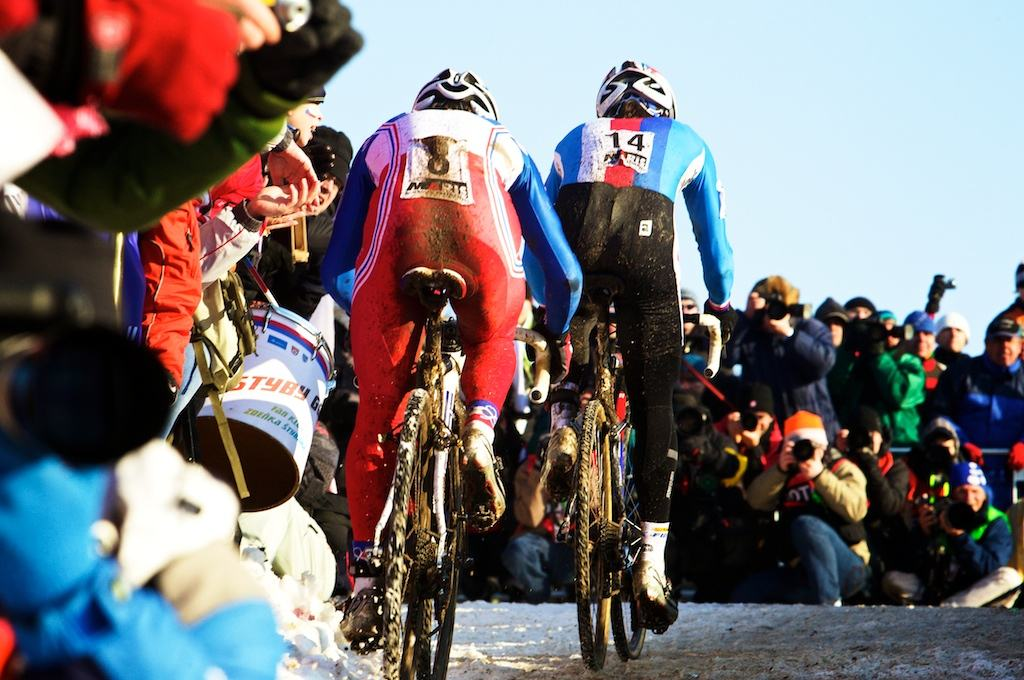 France's Francis Mourey tries in vain to hold onto Zdenek Stybar's wheel during the 2010 Cyclocross World Championships in Tabor, Czech Republic.  ? Joe Sales