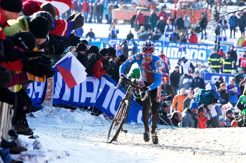 Stybar hits the slippery run up.  2010 Cyclocross World Championships in Tabor, Czech Republic.  ? Joe Sales