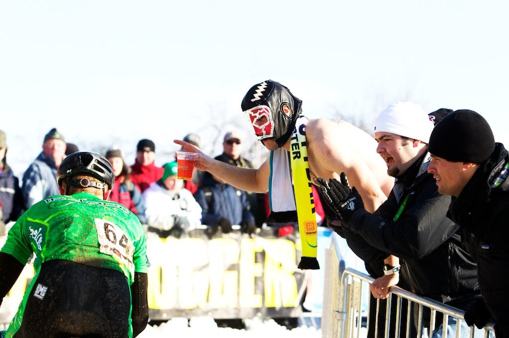 Ireland's Rodger Aiken is cheered on by some passionate fans during the 2010 Cyclocross World Championships in Tabor, Czech Republic.  ? Joe Sales
