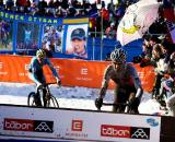 Switzerland's Christian Heule approaches the barriers just ahead of a hard-charging Klaas Vantornout at the 2010 Cyclocross World Championships in Tabor, Czech Republic.  ? Joe Sales