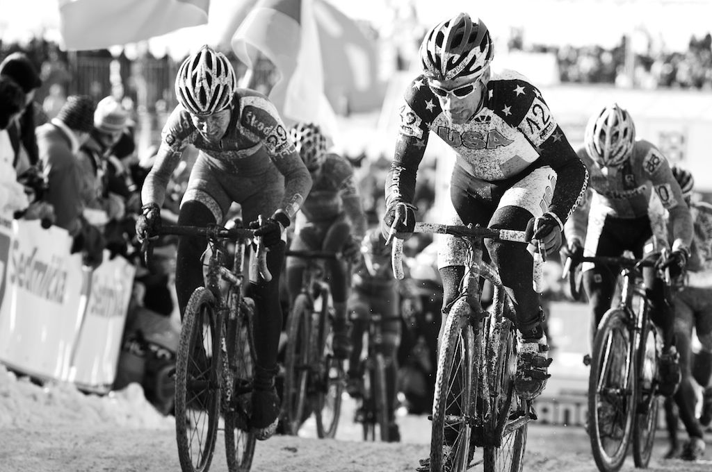 Tim Johnson grits it out to become the highest US finisher at the 2010 Cyclocross World Championships in Tabor, Czech Republic.  ? Joe Sales