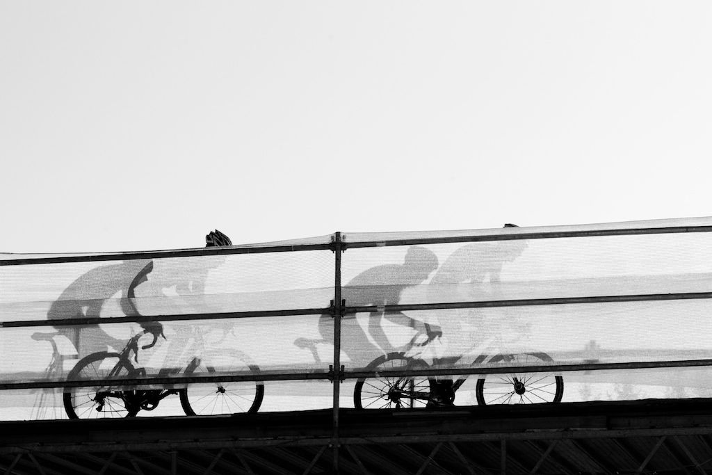 Riders manage the overpass during the 2010 Cyclocross World Championships in Tabor, Czech Republic.  ? Joe Sales