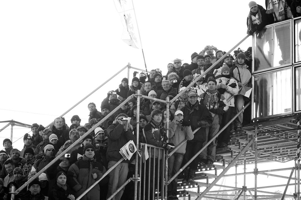 The bleacher steps offered a great vantage point for a few more spectators at the 2010 Cyclocross World Championships in Tabor, Czech Republic.  ? Joe Sales