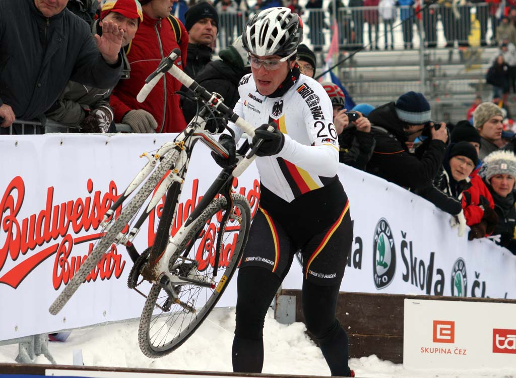 Hanka Kupfernagel makes her way through the barriers. ? Bart Hazen
