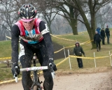 Jeremy Powers (Rapha-FOCUS) rolls through the sandpit section of the course. ©Liz Farina Markel