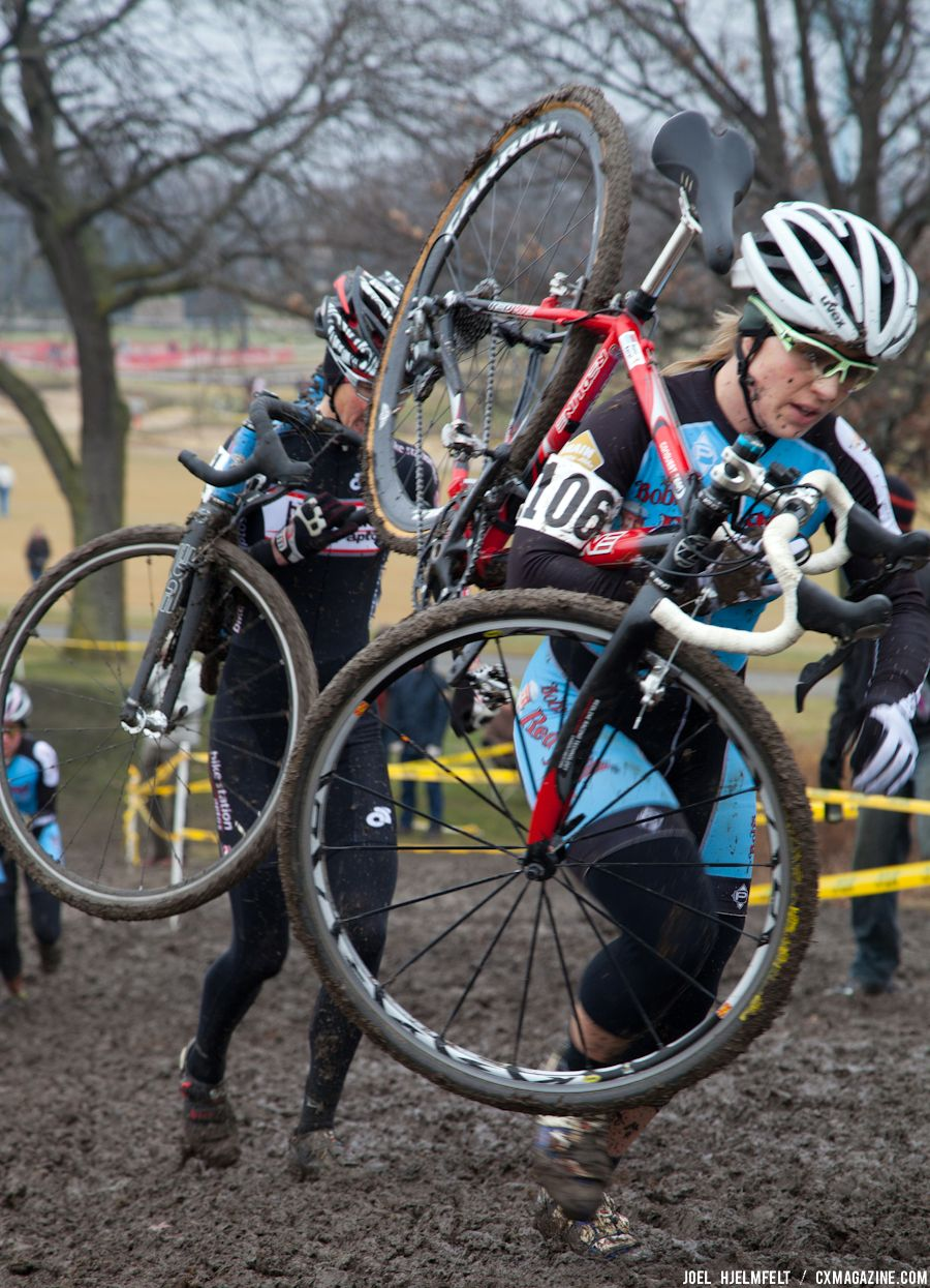 Meghan Korol climbs her way up the front side of