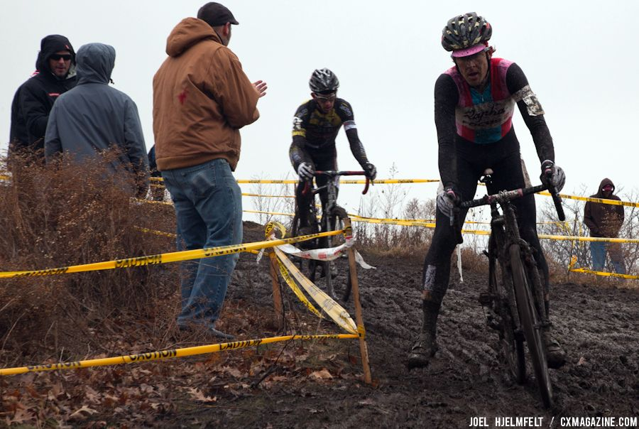 Christopher Jones leads Brian Matter down the front side of