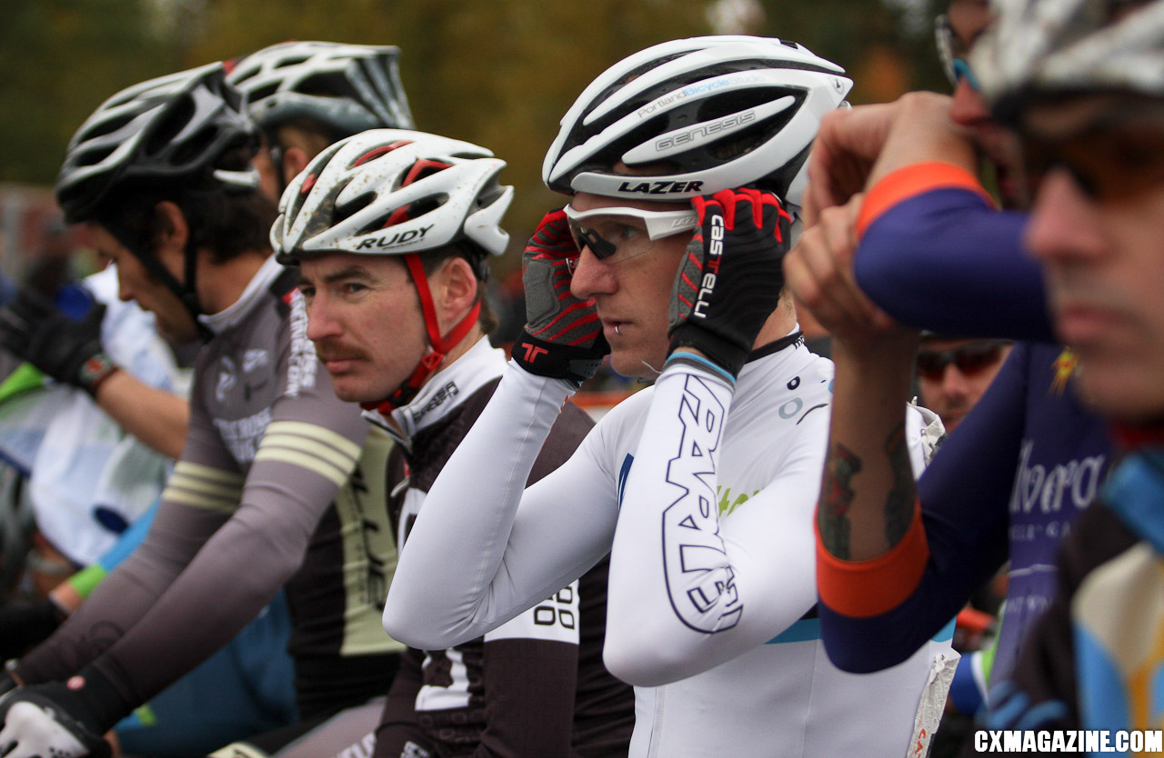 Molly Cameron readies for the start in the front row of the Elite men\'s race. ©Pat Malach