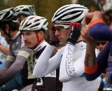 Molly Cameron readies for the start in the front row of the Elite men's race. ©Pat Malach