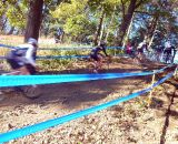The second chase group on the run/rideup. © Cyclocross Magazine