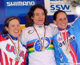 The women's podium with winner Marianne Vos, second Katie Compton and third Katerina Nash