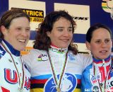 The women's podium: Compton, Vos, Nash