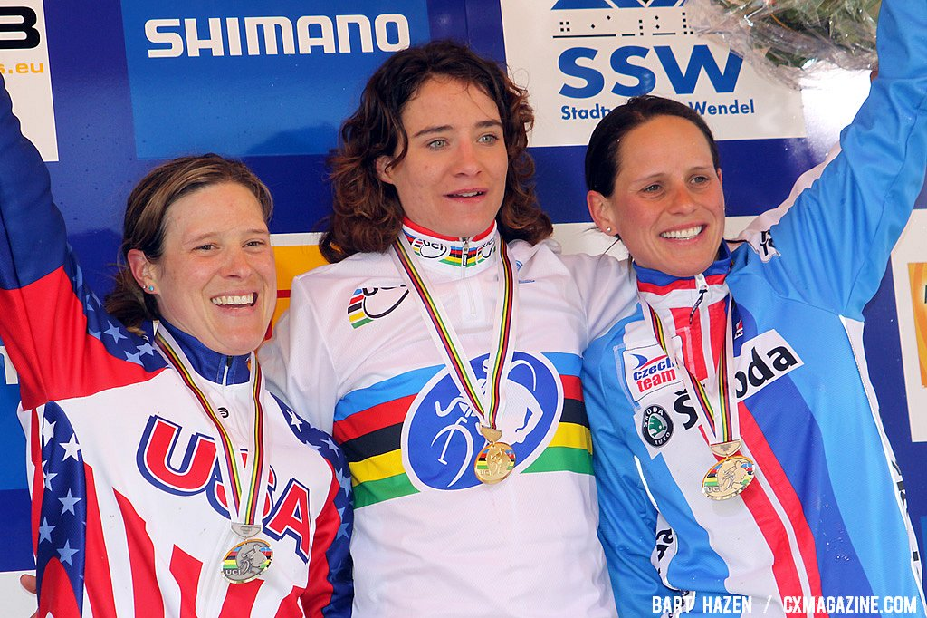 The women\'s podium with winner Marianne Vos, second Katie Compton and third Katerina Nash