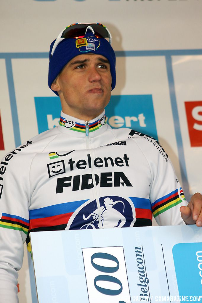 Zdenek Stybar seemed a little emotional at the podium ceremony.