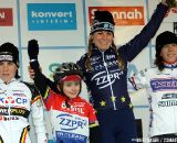 The women's podium in Oostmalle: Daphny van den Brand, Sanne Cant, Helen Wyman and a special fan of Daphny.