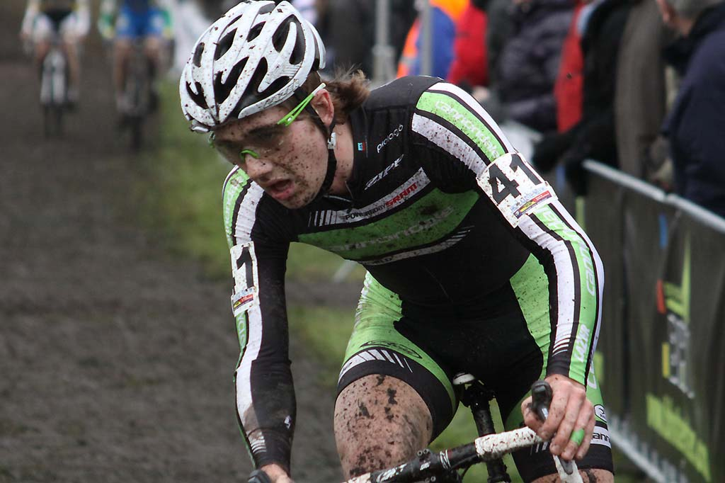 Jamey Driscoll focuses on a curve in Hoogerheide. © Bart Hazen