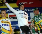 Honoring of the final ranking of the UCI World Cup; winner Niels Albert, second Kevin Pauwels and third Sven Nys.