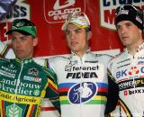 The men's podium at the Cyclo Cross Masters in Hasselt; winner Zdenek Stybar, second Sven Nys and third Niels Albert.