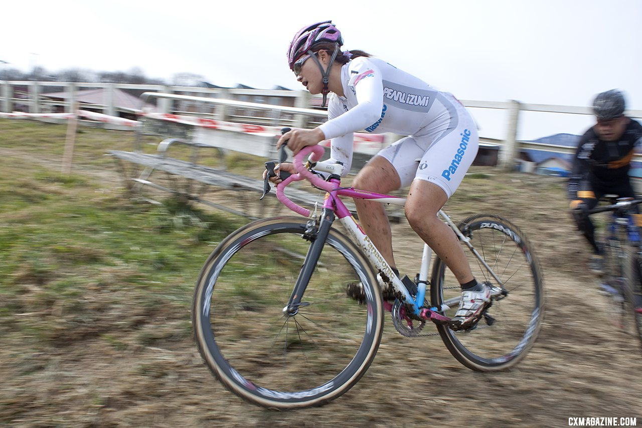Toyooka riding away for the win. 2011 Nobeyama, Japan UCI Cyclocross Race. © Cyclocross Magazine