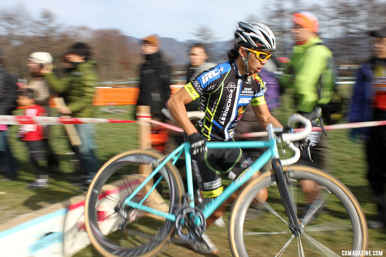 Takenouchi on the front. 2011 Nobeyama, Japan UCI Cyclocross Race. © Cyclocross Magazine