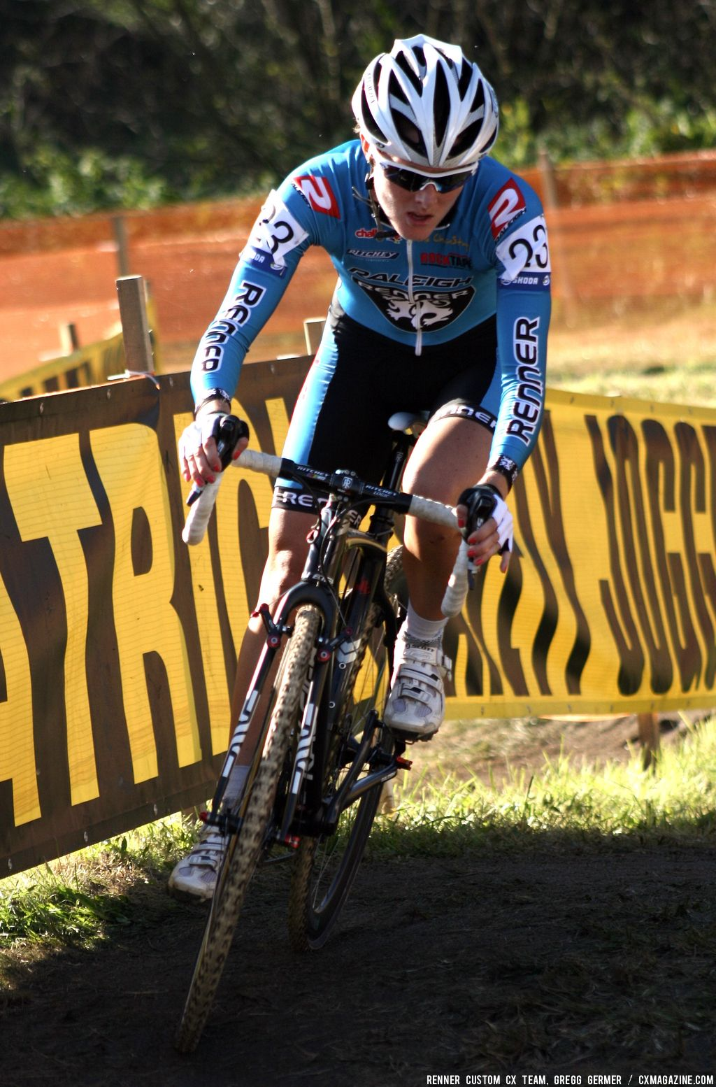 Gabby Day takes a turn. © Renner Custom CX Team, Gregg Germer