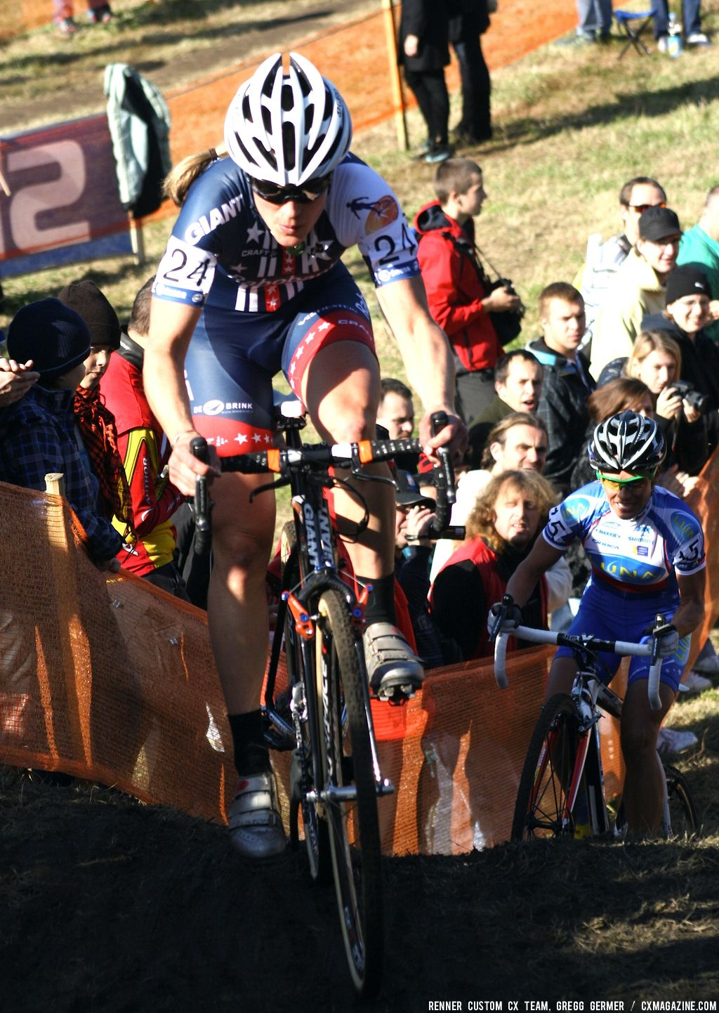 Katie Compton on the hill. © Renner Custom CX Team, Gregg Germer
